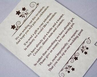 Vintage Style Wedding Money Poems x 10