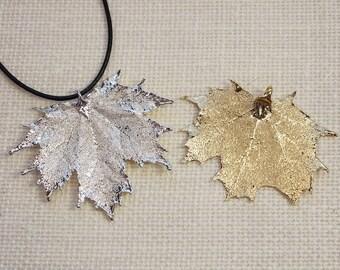 SALE Leaf Necklace, Maple Leaf, Silver Sugar Maple Leaf, Copper Leaf,Real Leaf Necklace,Silver Maple Leaf Pendant, SALE329