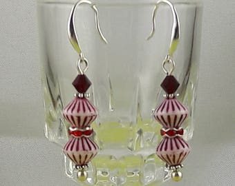 "Earrings ""Popy Red"" glass beads and Swarovski"