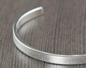 Mens Bracelet Unisex Sterling mens silver cuff bracelet satin finish bracelet for women or men