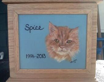 Pet Memorial, Pet Urn Box ™ ,single pet memorial urn, pet portrait on hardwood urn ,custom made pet urn