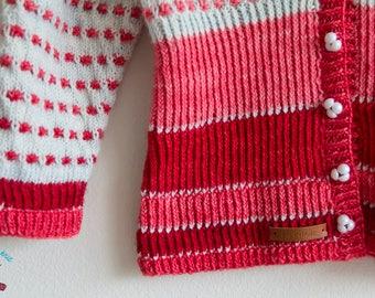 Custom Made Popcorn Stitch Isla Cardigan 3/4 sleeves Empire Waist with Gradient Blush colors