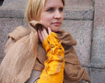 Felted long yellow  fingerless gloves-  Arm warmers Mittens accessories