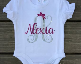 Baby Girl Clothes-Baby Shower Gift-Monogram Baby Girl Clothes-Baby Girl Glitter Monogram-Cute Baby Girl Clothes-Baby Girl Onesie-Pink