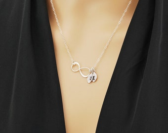 Personalized infinity necklace, initial charm necklace, gift for mom, Mother of the groom, gift necklace, mother of the bride, eternity