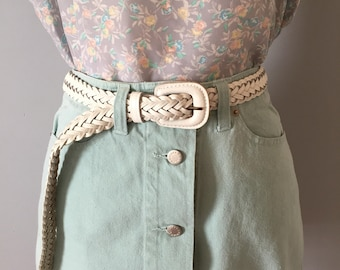 chalk white leather woven belt || 1980s leather braided belt