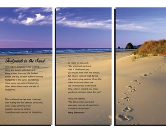 Framed Huge 3-Panel Canvas Gallery Wrap - Footprints in the Sand - Poem - Canvas Wall Art