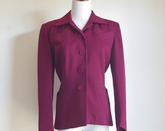 Vintage 40s Blazer, Burgundy Jacket. Shoulder Pad Blazer, 1940s Jacket, 1950s Jacket, Medium