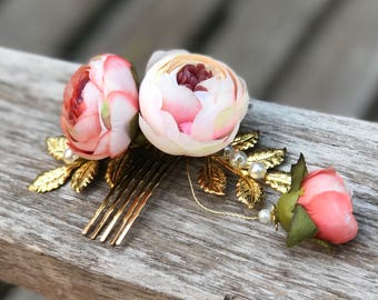 Flower Comb, Gold Hair Comb / Beatrice Silk Flower Rose / Wedding / Prom / Bridesmaids / Flower girl / Photoshoot