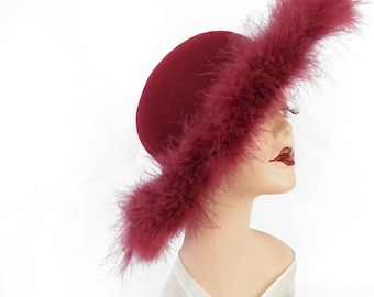 Feather vintage hat, maroon tilt with ostrich feather trim