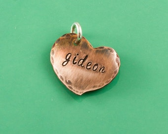 Additional copper heart tag, add-on to necklace