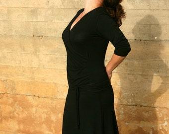 Wrap Dress, Plus Size Dress, Black Dress, Day Dress, Plus Size Clothing, Nursing Dress, Plus Size A line Dress, Black dress, Womens dress