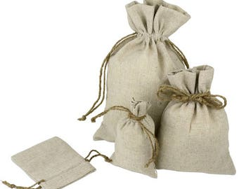 Upscale Natural Linen Bags with Hemp Drawstrings - 12 PCS - Choose size