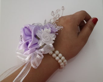 Lilac, White & Silver Corsage and Boutonniere Set