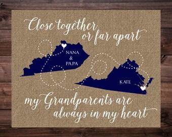 gift for grandparents christmas gift for grandparents personalized grandparent gift long distance map - Gifts For Grandma Christmas