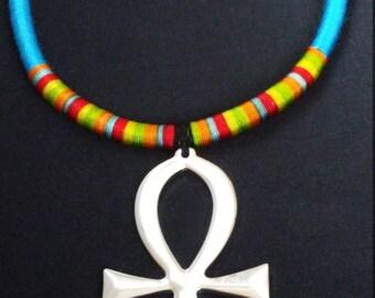Blue & Silver Ankh Necklace