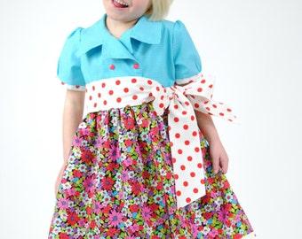 SALE - Girls Dress, Girls Dresses, Girls Clothing, Toddler Dresses, Little Girls Dresses, Blue dress, Polka Dot, Size 5
