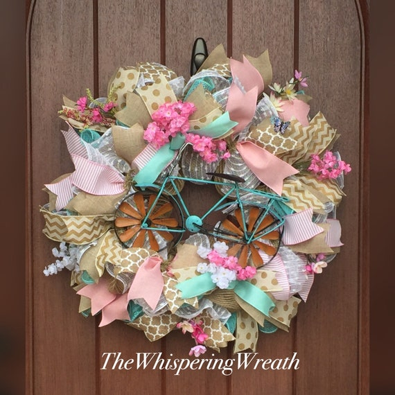 Turquoise Bicycle Wreath