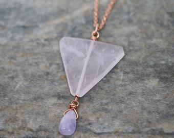 Rose Quartz Slab Nugget, Light Amethyst Drop and Rose Gold Chain Necklace