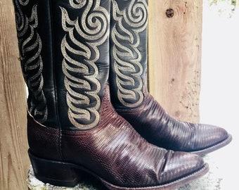 Tony Lama Snakeskin Cowboy Boots Vintage Oxblood  Womens 8.5 D