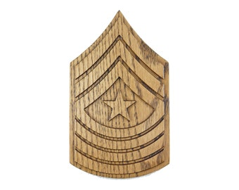 MARINE SgtMaj E9 RANK Plaque Sergeant Major Wood Carved Wall Sign Military USMC Promotion Retirement Gift Wooden