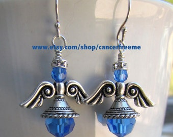 Colon Cancer Awareness Angel Earrings, Cancer Awareness, Jewelry, Angel Earrings, Crystal Earrings, Handmade, Angels, Gift for Her