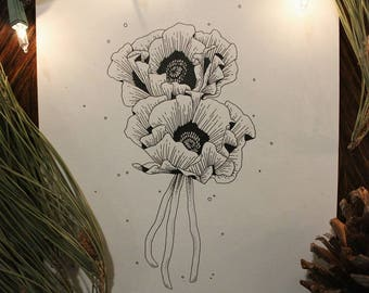 Original Flower Ink Drawing