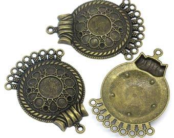 Bronze accessory 5.5x3.9cm pattern round connector