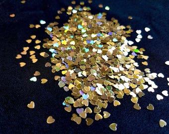 solvent-resistant glitter shapes-rich gold hologram hearts