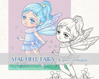 Digital Stamp Star Field Fairy, Digi Download, Butterfly Pixie Girl, Fantasy Coloring Page, Cute Scrapbooking Supplies, Clip Art