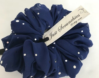 Navy Blue Scrunchies with Silver Dots -  Chiffon Hair Accessories - Handmade by Just Scrunchies - Yoga - Beach - Hair Ties and Elastic