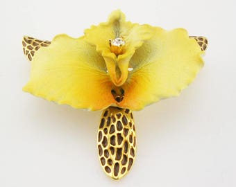 Joan Rivers Porcelain & Crystal  Vintage Orchid Brooch   1 1/2""