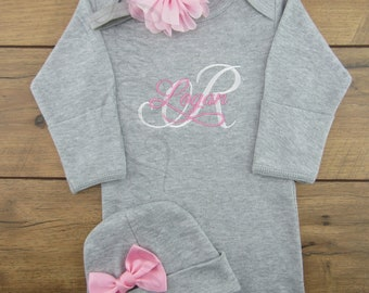Personalized, Newborn, Baby girl gown, Coming home outfit, Baby girl clothes, Baby girl outfit, Pink and grey, baby gown, take home outfit