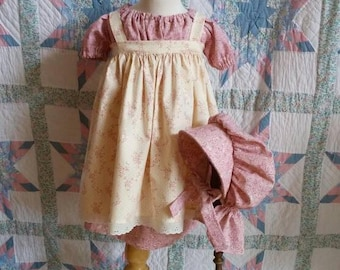 Rose and Cream floral Girl's/ Toddler Dress, Pinafore and Bonnet Set - 2T