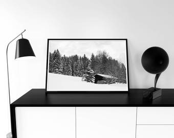 Barn Photo Digital Photo Instant Download Winter Photography Pine Tree Forest Winter Landscape Horizontal Black White Wall Art Poster Stock