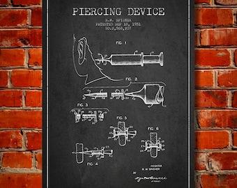 1951 Piercing Device patent Canvas Art Print, Wall Art, Home Decor, Gift Idea