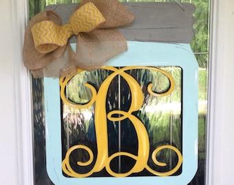 Mason Jar Door Hanger With Monogram Initial, monogram door hanger, mason jar door hanger, summer door hanger, spring door hanger