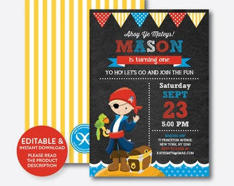 Instant Download, Editable Pirate Birthday Invitation, Pirate Invitation, Pirate Party Invitation, Pirate Boy Invitation,Chalkboard(CKB.47D)