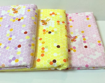 1 FQ or 1/4 Yard Heather Ross Briar Rose ~ Hex Bee ~ 3 colors ~ Pink + Yellow + Lilac ~ Windham Fabrics, Cotton Quilt Fabrics