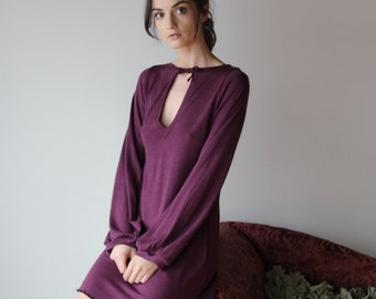 tunic sweater dress or sleep shirt - wool blend womens lounge wear lingerie and sleepwear range - MALLARD - made to order