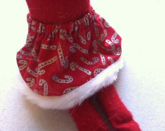 Christmas Shelf Clothes Red Skirt with Silver Candy Canes and Fur Trim for Girl Elf or Pixie