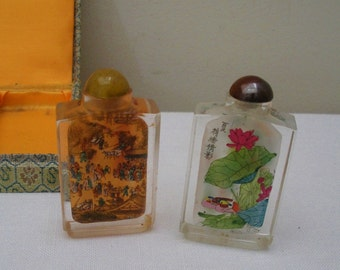 Vintage Set of 2 Chinese Painted Snuff Bottles in Box