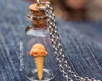 FREE SHIPPING - Orange Sorbet Ice Cream Necklace - Miniature Food Jewellery - Miniature Dessert - Ice-cream - Jewelry