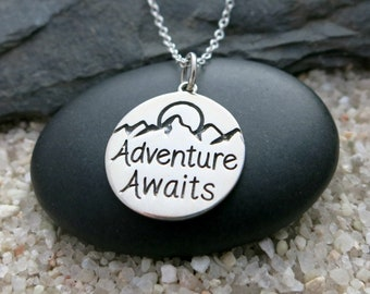 Adventure Awaits Necklace, Sterling Silver Adventure Charm, Gift for Adventure Seeker, Travel Jewelry