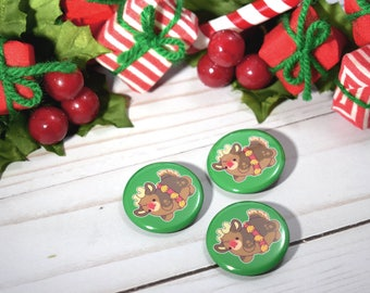 Kawaii Rudolph the Reindeer Nugget Christmas Pinback Button or Magnet