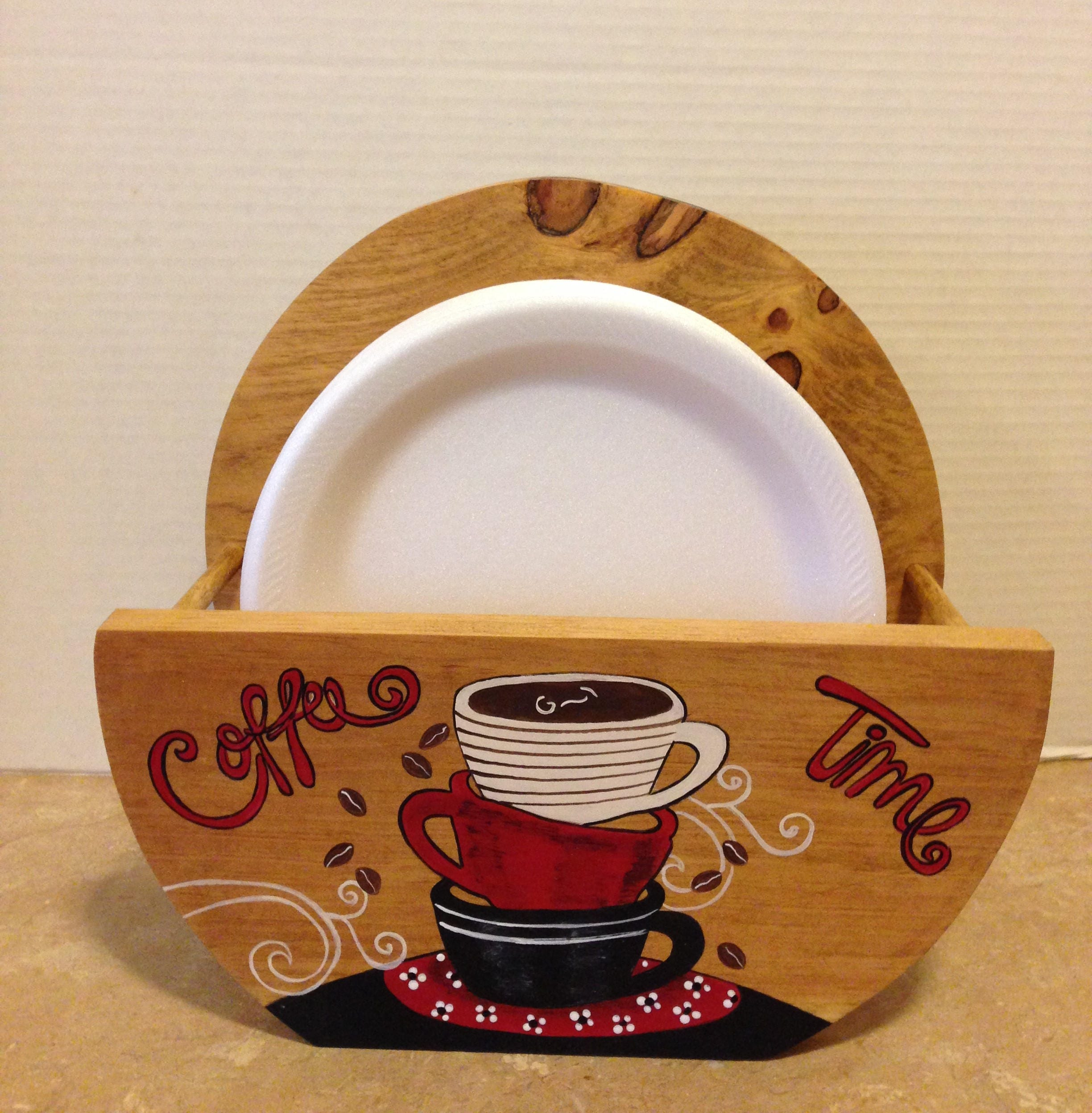 Paper Plate Holder Coffee Theme Coffee Decor Coffee Lovers Gift Bistro Decor Coffee Kitchen Theme Coffee Kitchen Holder for Plates & Paper Plate Holder Coffee Theme Coffee Decor Coffee Lovers Gift ...