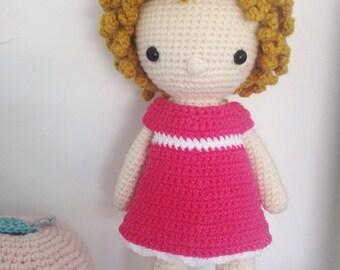 Poupée Coralie au crochet  - amigurumi - cadeau naissance - animaux - décoration de chambre - doll - kawaii