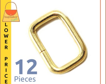 "5/8 Inch Rectangular Wire Rings / Loops, Brass Finish, 12 Pack, for 1/2"" - 5/8"" Strap, Rectangle O Ring, Purse Handbag Hardware, RNG-AA082"