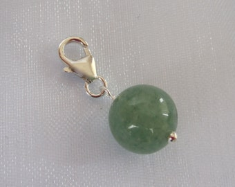 925 Sterling silver natural Green AVENTURINE gemstone clip on charm fits bracelet, fits link bracelet