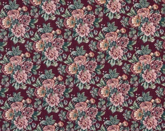 Burgundy Orange And Green Floral Tapestry Upholstery Fabric By The Yard | Pattern # F648